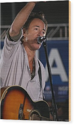 Bruce Springsteen In Cleveland Wood Print by Brian M Lumley