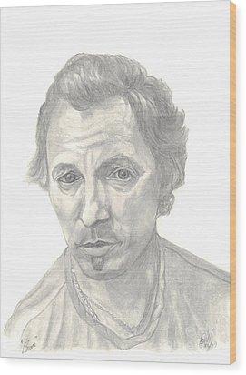 Wood Print featuring the drawing Bruce Springsteen Portrait by Carol Wisniewski