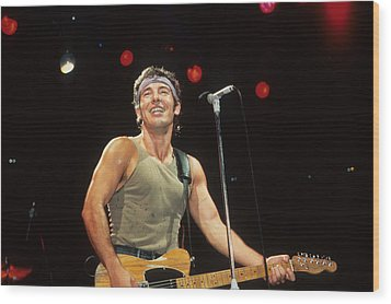 Bruce Springsteen Wood Print by Rich Fuscia