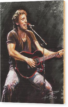 Bruce Springsteen  Wood Print by Ylli Haruni