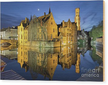 Brugge Twilight Wood Print by JR Photography