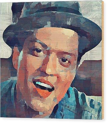 Bruno Mars Portrait Wood Print