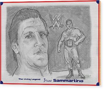 Bruno Sammartino The Living Legend Wood Print by Chris  DelVecchio