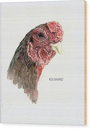 Bruno The Ko Shamo Rooster Wood Print