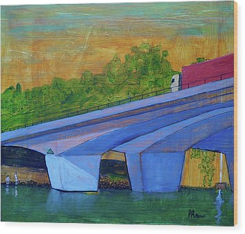 Wood Print featuring the painting Brunswick River Bridge by Paul McKey