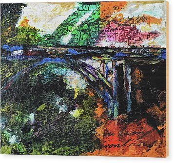Wood Print featuring the mixed media Brush Creek Bridge by Lisa McKinney