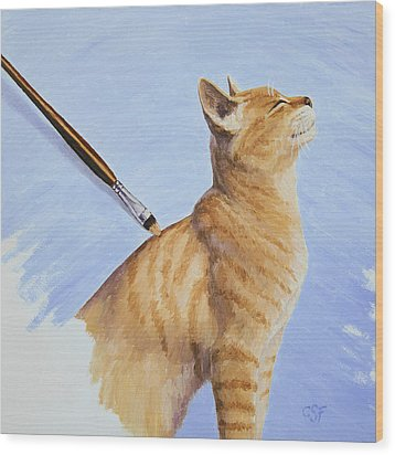 Brushing The Cat Wood Print by Crista Forest