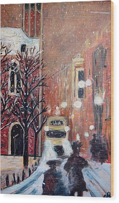 Brussels At Night Wood Print by Carolyn Donnell