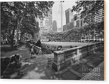 Wood Print featuring the photograph Bryant Park Angles by John Rizzuto