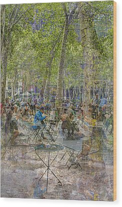 Bryant Park Collage 2 Wood Print