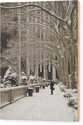 Bryant Park Snow Wood Print by Andrew Kazmierski