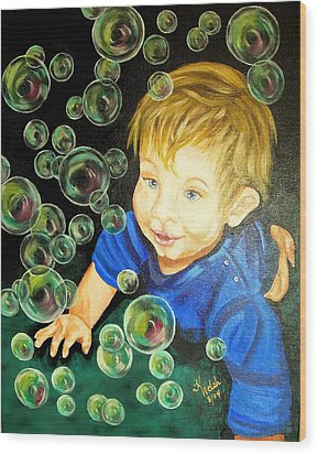 Bubble Baby Wood Print by Kathern Welsh
