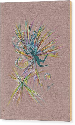 Wood Print featuring the drawing Bubble Bursting by Dawn Fairies