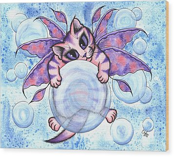 Bubble Fairy Kitten Wood Print by Carrie Hawks