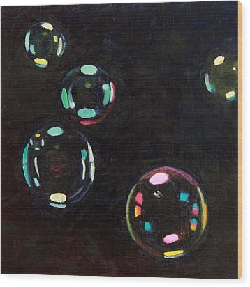 Bubble Study 01 Wood Print by Guenevere Schwien