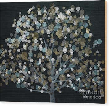 Bubble Tree Night Wood Print by Mindy Sommers