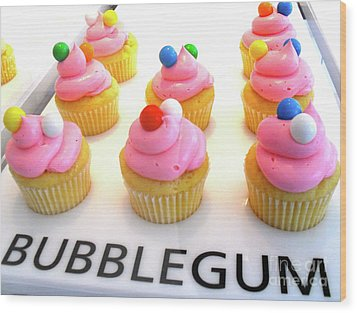 Bubblegum Cupcakes Wood Print by Beth Saffer