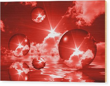 Wood Print featuring the photograph Bubbles In The Sun - Red by Shane Bechler