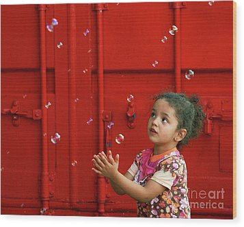 Bubbling Girl Wood Print by Aimelle