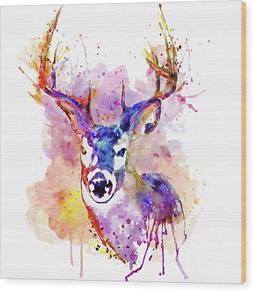 Wood Print featuring the mixed media Buck by Marian Voicu