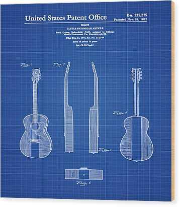 Buck Owens Guitar Patent 1972 Blue Print Wood Print by Bill Cannon