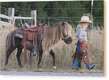 Buckaroo Cowgirl Wood Print by Cindy Singleton