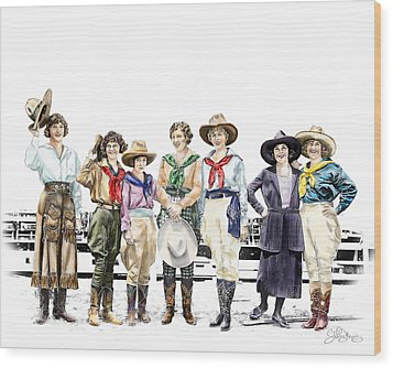 Buckin Horse Suffragettes Wood Print by Shirley Morris