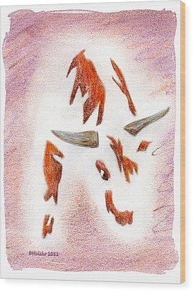 Bucking Bull Wood Print by Mark Schutter