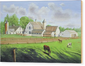 Buckingham Horse Farm Wood Print