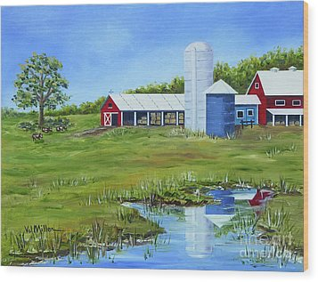 Bucks County Farm Wood Print by Val Miller