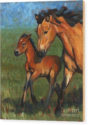 Buckskin And Baby Wood Print by Pat Burns