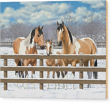 Buckskin Paint Horses In Snow Wood Print by Crista Forest