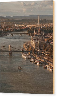 Budapest In The Morning Sun Wood Print by Jaroslaw Blaminsky