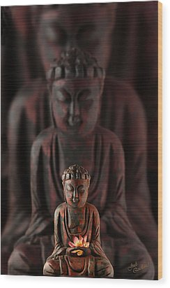 Buddah With Lotus Flower Wood Print by Judi Quelland