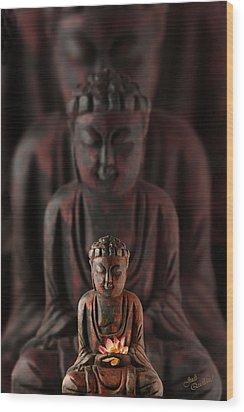Buddah With Lotus Flower Wood Print
