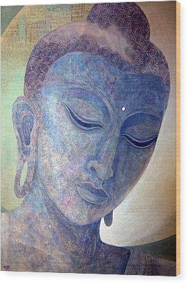 Buddha Alive In Stone Wood Print by Jennifer Baird