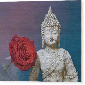 Buddha And Rose Wood Print