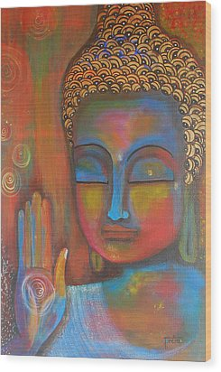 Buddha Blessings Wood Print by Prerna Poojara