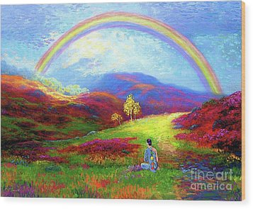 Buddha Chakra Rainbow Meditation Wood Print by Jane Small