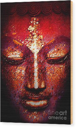 Buddha  Face Wood Print