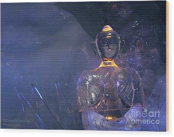 Buddha In Ice Wood Print by Christine Amstutz