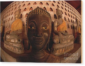 Wood Print featuring the photograph Buddha Laos 1 by Bob Christopher