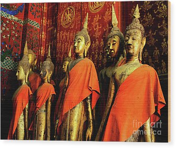 Wood Print featuring the photograph Buddha Laos 2 by Bob Christopher