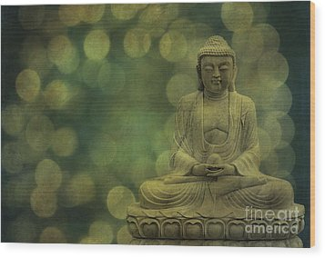 Buddha Light Gold Wood Print by Hannes Cmarits