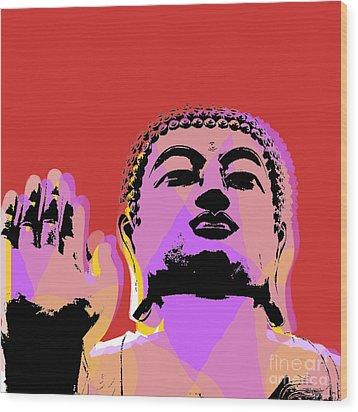 Wood Print featuring the digital art Buddha Pop Art  by Jean luc Comperat
