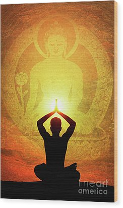 Wood Print featuring the photograph Buddha Prayer by Tim Gainey