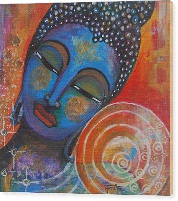Wood Print featuring the painting Buddha by Prerna Poojara