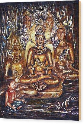 Buddha Reflections Wood Print by Harsh Malik