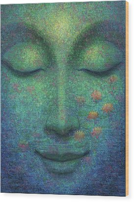 Wood Print featuring the painting Buddha Smile by Sue Halstenberg