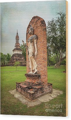 Wood Print featuring the photograph Buddha Statue Sukhothai by Adrian Evans